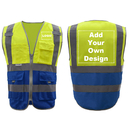 GOGO Customized 9 Pockets High Visibility Reflective Safety Vest Class 2 ANSI, Yellow/Blue Hi Vis Vest