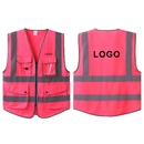 GOGO Custom 7 Pockets High Visibility Zipper Front Safety Vest With Reflective Strips