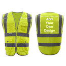 GOGO Customized 9 Pockets High Visibility Reflective Safety Vest Class 2 ANSI, Personalized Yellow Hi Vis Vest