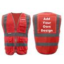 GOGO Customized 9 Pockets High Visibility Reflective Safety Vest Class 2 ANSI, Personalized Red Hi Vis Vest