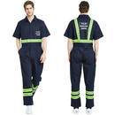 TOPTIE Customize Your Clothes Safety Enhanced Visibility Striped Short-Sleeve Work Coverall