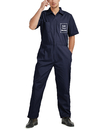TOPTIE Personalized Coverall Customized Work Clothes, Navy Short Sleeve Work Coverall with Elastic Waist