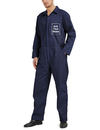 TOPTIE Customize Long Sleeve Coverall with Name or Logo, Men's Navy Workwear Zip-Front Coverall