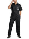 TOPTIE Personalized Black Short-Sleeve Work Coverall With Elastic Waist for Men, Customized Uniform