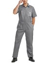 TOPTIE Custom Short-Sleeve Gray Work Coverall with Name and Logo for Men, Personalized Work Clothes