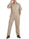 TOPTIE Customized Khaki Short-Sleeve Work Coverall With Elastic Waist, Personalized Workwear For Men
