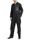 TOPTIE Personalized Black Coverall Workwear with Zip-Front Customize with Name Company Logo