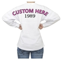TOPTIE Custom Bachelorette Party Shirt, White Pom Pom Jersey Shirts Long Sleeve, Monogrammed Jersey