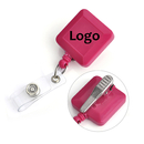 Custom Square Retractable Name Badge Reels With Spring Clamp, 25-Inch Nylon Cord