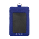 GOGO Customized Double Sided Leather ID Card Credit Card Badge Holder with 2 Card Slots
