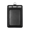 GOGO Custom Whloesale Style 2-Sided PU Leather ID Card Badge Holder with ID Window Vertical Horizontal