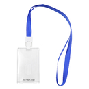 GOGO Custom Wholesale Transparent Crystal Acrylic Card Holder Badge Holder with Blue Lanyard