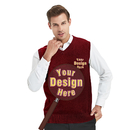 Custom Embroidery Men's Cotton Plain Sweater Vest, Add Your Own Design
