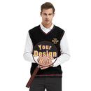 Custom Men's Sweater Embroider V-Neck Cotton Knit Vest Personalized Logo