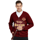 Embroidery Men's Sweater Cardigan Custom Casual Cotton, Monogrammed Your Text Here