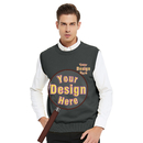Custom Embroidery Men's Crewneck Sweater Vest Cotton Personalized Logo