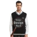 Custom Embroider Black and White Sweater Vest, Monogrammed Your Design