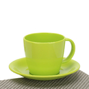 Wholesale Duable Plastic Cappuccino Coffee Mug with Hangdle and Saucer, Multi Color