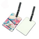 Two Sides Sublimation Printed Luggage Tags with PU Leather Straps