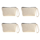 Aspire DIY Natural Canvas Wristlet Pouch, Cosmetics Travel Zipper Bag with Bottom
