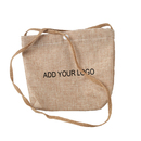 Aspire Custom Natural Burlap Shoulder Bag, Favor Bag Pouch With Strap, 7 1/2 x 6 5/16 Inch
