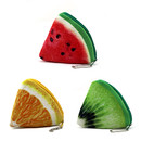 Aspire Vivid Triangle Fruit Plush Coin Purse, Change Purse Keychain - 4 Inch