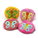 Aspire Plush Coin Pouch with Ball Chain, Butterfly Sewed On Purse, 4 Inch
