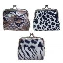 Aspire Animal Print Leather Double Coin Purse, Clasp Closure Purse for Lady