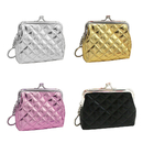 Aspire Quilted Leather Clasp Closure Purse with Key Chain, Girls Party Favors