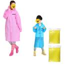 GOGO Custom EVA Parent / Child Jacket Rain Poncho, Raincoat with Hoods and Full Sleeves