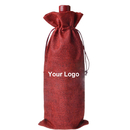 Aspire Custom Natural Linen Wine Bags with Drawstrings, 6 5/16 x 14 3/16 Inch Solid Color Favor Bags