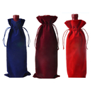 Aspire Solid-color Velvet Wine Bags with Drawstrings, Gift Pouches, 6 5/16 x 14 3/16 Inch