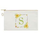 TeeVoo Floral Monogram Initial Travel Makeup Bag 7 3/4 x 4 1/2 Inches Natural Cotton Canvas Pouch