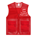 Custom Unisex Mesh Volunteer Vest Add Text Logo on Activity Team or Supermarket with Zipper & Pocket