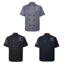 TOPTIE 3 Pack Custom Short Sleeve Chef Coats Personalized Heat Transfer & Embroidered Jackets