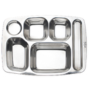 Wholesale Rectangular Six Divided Cafeteria Tray Deep Square Stainless Steel Tray, 14.4