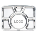 Custom Wholesale Dinner Plate Tray with Big Round 6 Section Metal Tray, 15.7