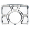 Wholesale Dinner Plate Tray with Big Round 6 Section Metal Tray, 15.7