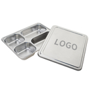 Custom Wholesale 4 Divided Dinner Plate For Cafeteria Deep Square Bento Box with Steel Lid, 11.4