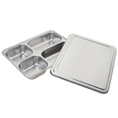 Wholesale 4 Divided Dinner Plate For Cafeteria Deep Square Bento Box with Steel Lid, 11.4