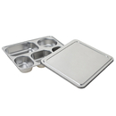 Wholesale 5 Section Food Serving Tray Divided Lunch Box with Steel Lid, 11.4