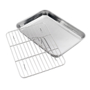 Baking Sheet with Cooling Rack Set, Stainless Steel Cookie Sheet and BBQ Rack