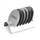 Aspire Custom Cup Coasters with Holder, 6 Pieces Stainless Steel Round Table Coasters for Beverage or Bar Use