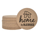 Aspire Cork Coasters for Drinks Absorbent Cup Coasters with 5 Designs - Home Sweet Home
