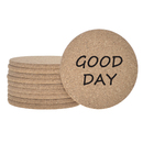 TOPTIE 10 PCS Chic Drink Coasters with Daily Greetings, Cork Coasters