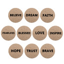 Aspire 10 PCS Round Coasters with Various Positive Words Cork Coaster for Home Decor Essential