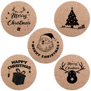 TOPTIE 10 Pcs Christmas Coasters for Holiday Decoration, Absorbent Cork Coaster