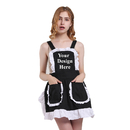 Aspire Personalized French Maid Aprons for Women Fancy Ruffles Ladies Apron with Pockets Kitchen Accessories