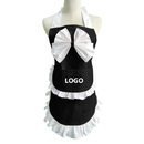 Aspire Personalize Cotton Maid Aprons with Pocket Bowknot Front Working Apron Party Costume with Logo