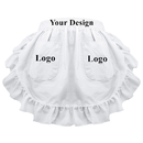 Aspire Customized Waist Apron for Women Ruffles Cotton Half Aprons with Two Pockets Party Favors